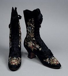 Boots by F Pinet, ca 1885 France, LACMA I have Edwardian shoes like these, I had floral arrangement added to them.  They are next to my large black hat with roses and feathers.