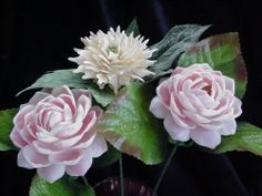 3 long stem Seashell Shell Flowers Pink Cup & Gar Scales