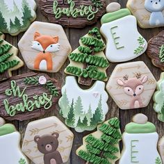 This was one of those sets that was hard to let go! I love all the textures and the cute woodland animals! Baby Cookies, Baby Shower Cookies, Cute Cookies, Sugar Cookies, Heart Cookies, Valentine Cookies, Easter Cookies, Birthday Cookies, Christmas Cookies