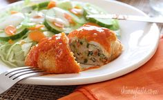 Freezer Friendly* Stuffed Buffalo Chicken Breasts - Chicken breast stuffed with cheese, shredded carrots and minced celery, then rolled, breaded, baked and drizzled with hot sauce. Turkey Recipes, New Recipes, Chicken Recipes, Cooking Recipes, Favorite Recipes, Healthy Recipes, Dinner Recipes, Healthy Meals, Gastronomia