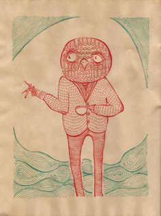 """""""The Three O'Clock"""" - Pen on paper, stained with coffee. - Imgur"""
