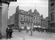 Overgate and Barrack Street, Dundee - Ref: WC0501 This photograph shows the junction of the Dundee Overgate leading east and right to the right, Barrack Street leading north, Mid Kirk Style leading west . The road leading from the right is Tally Street, which led southwards to the Nethergate.
