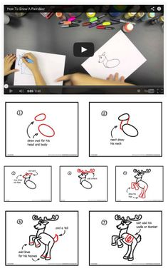 {How To Draw A Reindeer} Step-by-step printable + Video tutorial *This is the coolest site. My kids spent hours going from tutorial to tutorial...