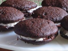 These look like little homemade Oreos but softer and more decadent! Cookies  1 1/2 c. flour  1/2 c. cocoa powder  1 tsp. baking soda  1 tsp. baking powder  1 tsp. salt  1/2 c. unsalted butter, room temp.  1 c. light-brown sugar  1 large egg  1 c. unsweetened applesauce  Filling:  1/2 c. unsalted butter, room temperature  1/2 tsp. vanilla  1 c. confectioners' sugar.  Oven to 375 degrees 10-14 min.