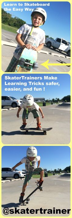 Learn Skateboard Tricks Faster! Great New Invention! Helps kids LAND their tricks! So simple, you have to check it out. Read the 100's of 5 star reviews. They work great! #skatertrainer @skatertrainer