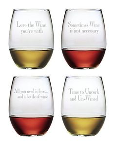 """""""Say It With Wine"""" Set of 4 21oz  Stemless Wine Glasses"""