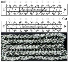 Loom Knitting stitches - work and diagram # 24