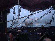 Viking ships in fog