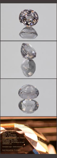 Nice bright Grey Spinel. Oval Cut. 1.55 ct. Maximum brilliance. Inclusions visible only under the lens. Loose Gemstones MdMaya Gems