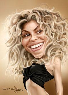 Shakira Isabel Mebarak Ripoll a.a Shakira Funny Caricatures, Celebrity Caricatures, Celebrity Drawings, Shakira, Cartoon Faces, Funny Faces, Caricature Art, Famous Celebrities, Celebs