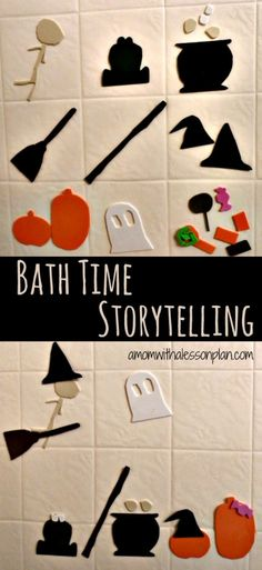 Bath time is the perfect time to add a little storytelling to your day. This bath time storytelling activity is both spooky and fun! (And easy to prep! Halloween Activities For Kids, Craft Activities, Toddler Activities, Holidays Halloween, Halloween Kids, Baby Bath Time, Toddler Crafts, Toddler Stuff, Toddler Fun