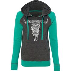 Juniors Country Girl® Steer Skull White Raglan Hooded Pullover Sweatshirt