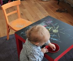 Drawing Table for kids Furniture Projects, Kids Furniture, Diy Projects, Diy For Kids, Crafts For Kids, Ikea Lack Table, Hacks Diy, Ikea Hacks, Kids House
