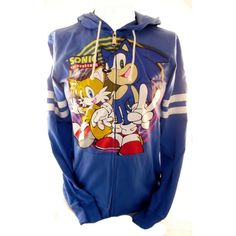 Sonic the Hedgehog Mens Hoodie Sweatshirt Sonic and Tails (Sega) ($7.99) ❤ liked on Polyvore featuring mens, men's clothing and men's hoodies