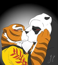 Po and Tigress Kung Fu panda Tigress Kung Fu Panda, Po Kung Fu Panda, Po And Tigress, Panda Drawing, Tiger Drawing, Arte Robot, Dragon Warrior, Childhood Movies, Panda Love