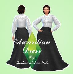 Edwardian Dress by Anni K at Historical Sims Life via Sims 4 Updates