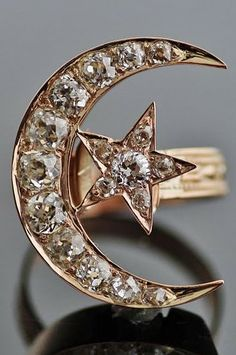 Diamond moon & star ring.  Late-Ottoman, 19th century.