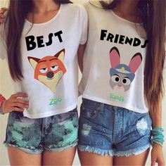 Cute Best Friends Fox or Rabbit Crop Top. Get one for yourself and one for your bestie! Women's Sizes. Includes One Shirt. Item Type: Loose Fit Crop Top Tees Style: Novelty, Best Friends Matching Tops One Size Fits Small to Large, Bust Range 32-36in, (84-92cm)
