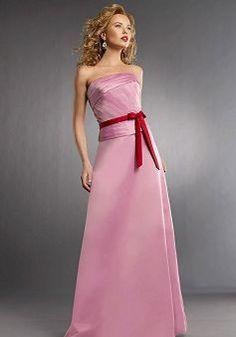 Strapless A line Satin Natural Waist Floor Length With Sash/ Ribbon Bridesmaid Dress - Angeldress.co.uk