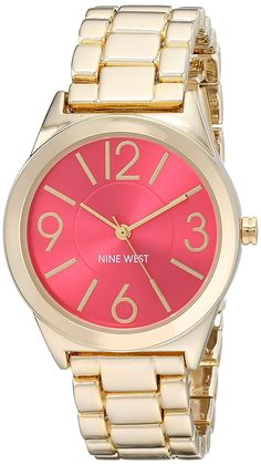 b0d3ddb0f31 Nine West Women s NW 1662PKGB Pink Sunray Dial Gold-Tone Bracelet Watch --