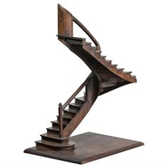 Model Staircase II Masterpiece, Work of Compagnonnage | From a unique collection of antique and modern models and miniatures at https://www.1stdibs.com/furniture/more-furniture-collectibles/models-miniatures/