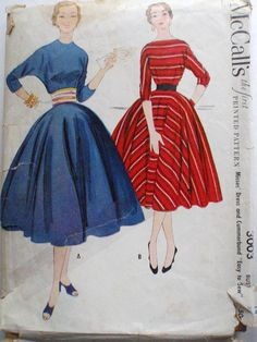 Vintage 1950's Sewing Pattern  Easy To Sew Dress and
