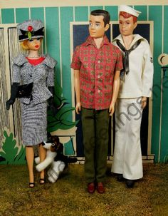 """Barbie wearing """"Career Girl"""" outfit, Ken and sailor Allan outside the 1962 Dream House by Hey Sailor Greetings"""