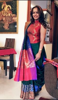 Looking for Jacket Blouse Designs for sarees? Here are our picks of 16 amazing blouse designs you can wear with any saree. Blouse Back Neck Designs, Fancy Blouse Designs, Brocade Blouse Designs, Choli Designs, Blouse Patterns, Saree Wearing Styles, Saree Styles, Blouse Styles, South Indian Blouse Designs