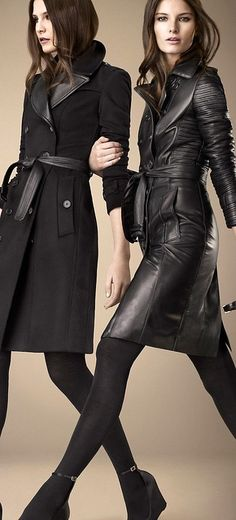 Definitely leather heaven! Two beautiful black leather coats: one has moto and trench features and a low notched collar and the other is a double-breasted beauty - suede or wool with leather trim. Waist ties. Desire. Style Planet #black leather coat #black leather trench #all black leather outfit #all black leather look #fashion