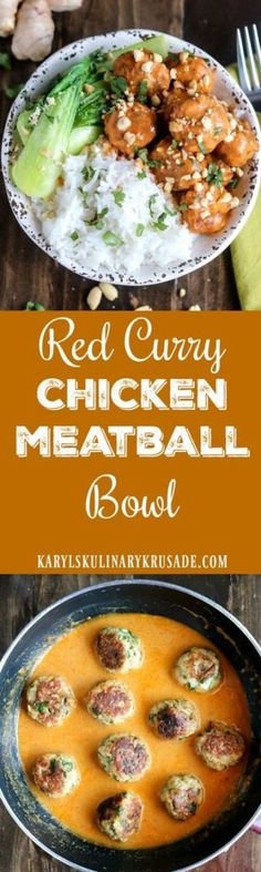 Red Curry Chicken Meatball Bowl is a bold and flavorful dish. The spicy red curry sauce adds a luxurious finish to the baked chicken meatballs. Serve as a bowl with rice and veggies, or on its own as a snack #chicken #meatball #spicy #curry #redcurry #bowl #peanuts #baked #redcurrychickenmeatballbowl #karylskulinarykrusade