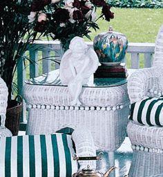 Victorian Wicker End Table via @wickerparadise #table #small #victorian #wicker #porch www.wickerparadise.com