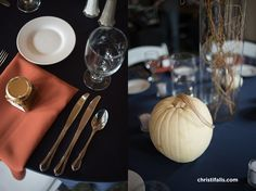 fall wedding tablescape with white pumpkins at Disney themed wedding at Daniel Stowe Botanical Garden.