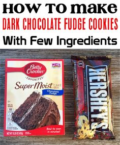 Cake Mix Cookies With Few Ingredients! These dark chocolate fudge cookies are ridiculously easy to make, only take a few basic ingredients, and are the perfect weekend treat! Chocolate Fudge Cookies, Chocolate Packaging, Delicious Cookie Recipes, Dessert Recipes, Yummy Food, Popular Recipes, Easy Recipes, Easy Meals, Cake Mix Cookies