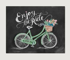 Bicycle Art - Bicycle Print - Chalk Art - Enjoy the Ride - Spring Decor - Bicycle Illustration - Chalkboard Print - Hipster Decor
