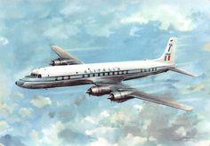 Alitalia Douglas DC-7C Seven Seas in flight airline postcard