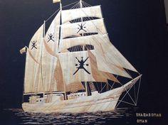my #etsy shop: Sail ship of Sultanate of OMAN  Handmade with leaves of rice plant SHABABOMAN #oman #tallship