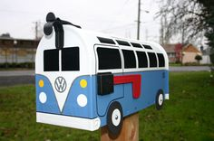 21 Window Custom Made To Order Volkswagen Bus Mailbox by TheBusBox - Choose Your Color - 21WinBusBox via Etsy