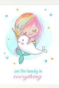Mermaid Decor, Mermaid Gift, Kid Print, Mermaid Print, Narwhal, Mermaid Room Decor, Nursery Wall Art Decor, Mermaid Art, Kid Gift, Printable #affiliate