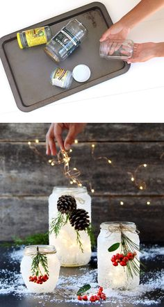 Introducing our new favorite winter and Christmas DIY: snow frosted mason jar decorations! Don't be intimidated by their beautiful looks! These DIY snow frosted Christmas mason jar decorations, ^^ CLIK PIN FOR MORE INFO ^^ Fun Mason Jar Craft Winter Wedding Centerpieces, Christmas Centerpieces, Christmas Decorations, Quinceanera Centerpieces, Jar Centerpieces, Thanksgiving Decorations, Centerpiece Ideas, Room Decorations, Wedding Decorations