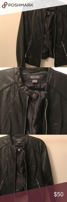 New Kenneth Cole Reaction Faux Leather Jacket (L) Never worn! I took the tags out thinking I'll be wearing it a little loose but it's too big for me. This jacket looks like real leather. I have a closet full of unworn clothes I need to clean out before I move. Kenneth Cole Reaction Jackets & Coats