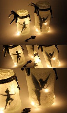 DIY Fairy Glass Tinkerbell / Peter Pan make it yourself- DIY Feenglas Tinkerbell / Peter Pan ganz einfach selber machen DIY Fairy Tinkerbell and Peter Pan: DIY, crafts, … - Pot Mason Diy, Mason Jar Crafts, Mason Jars, Disney Diy, Disney Crafts, Tinkerbell, Do It Yourself Upcycling, Do It Yourself Projects, Diy 2019