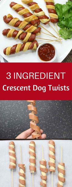 3 Ingredient Crescent Dog Twists – a super easy and kid friendly snack that comes together in minutes and is a guaranteed hit. All you need is 3 simple ingredients: hot dogs, crescent roll dough and e (Camping Food Recipes) Snacks Für Party, Easy Snacks, Fruit Party, Fruit Snacks, Party Drinks, Appetizers For Party, Appetizer Recipes, Toothpick Appetizers, Simple Appetizers