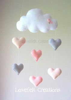 Baby mobile Heart mobile cloud mobile by LoveFeltXoXo on Etsy(Baby Diy Projects) Baby Crafts, Felt Crafts, Diy And Crafts, Cool Baby, Baby Decor, Nursery Decor, Coral Nursery, Pink And Gray Nursery, Sea Nursery
