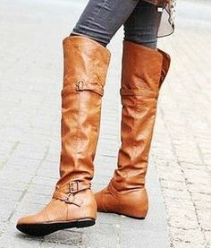 Brown Over The Knee Flat Boots - Yu Boots