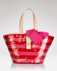 Juicy Couture Tote - Rugby Stripe Straw Pailette