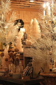 Bottle brush and tinsel tree vignette
