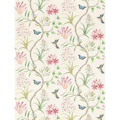 Clementine Dusky Pink Wallpaper from Sanderson Voyage of Discovery Wallpaper Collection. A printed wallpaper featuring charcoal and yellow hummingbirds, blue butterflies and flowing exotic flora with dusky pink flowers on a cream background. Feature Wallpaper, Print Wallpaper, Fabric Wallpaper, Pattern Wallpaper, Wallpaper Jungle, Chinoiserie Wallpaper, Wallpaper Samples, Wallpaper Stairs, Drawing Wallpaper