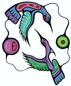 "Mark Anthony Jacobson, Inuit artist, ""Hummingbirds (At Play with the Spirit)""kK Inuit Kunst, Arte Inuit, Inuit Art, Native American Artists, Canadian Artists, Claudia Tremblay, Kunst Der Aborigines, Woodland Art, Haida Art"