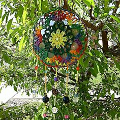 Upcycled CD Suncatcher Crochet Mandala Wall by RecycledSerendipity