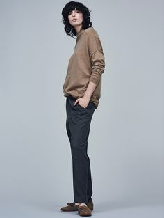 Tu clothing, camel jumper, tailored trousers, check loafers